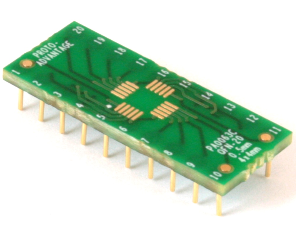 QFN-20 to DIP-20 SMT Adapter (0.5 mm pitch, 4 x 4 mm body) Compact Series 0