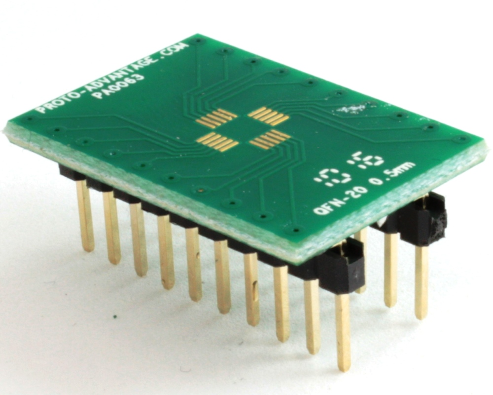 QFN-20 to DIP-20 SMT Adapter (0.5 mm pitch, 4 x 4 mm body) 0
