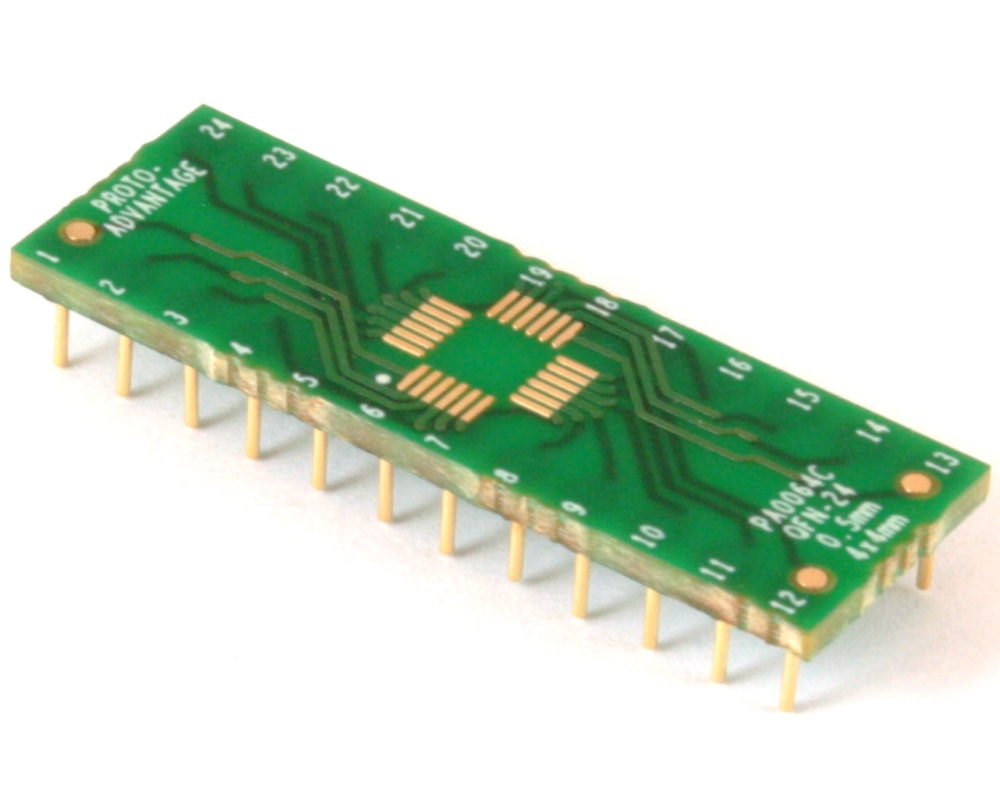 QFN-24-THIN to DIP-24 SMT Adapter (0.5 mm pitch, 4 x 4 mm body) Compact Series 0