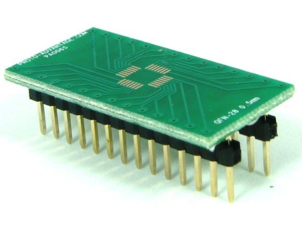 QFN-28 to DIP-28 SMT Adapter (0.5 mm pitch, 5 x 5 mm body) 0