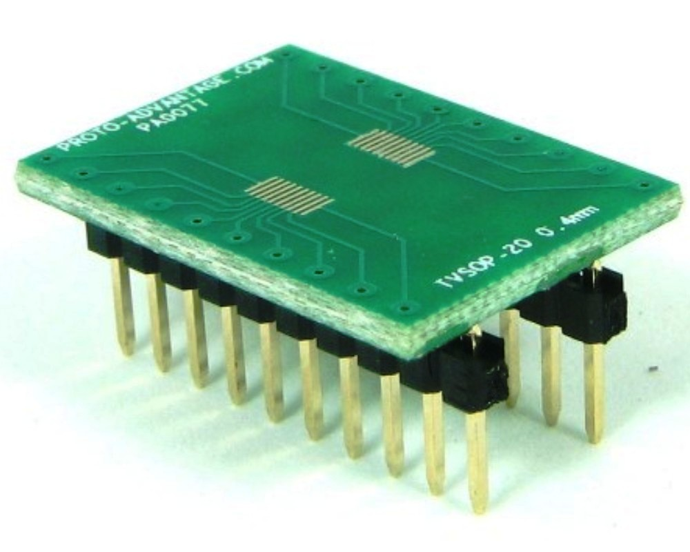 TVSOP-20 to DIP-20 SMT Adapter (0.4 mm pitch) 0