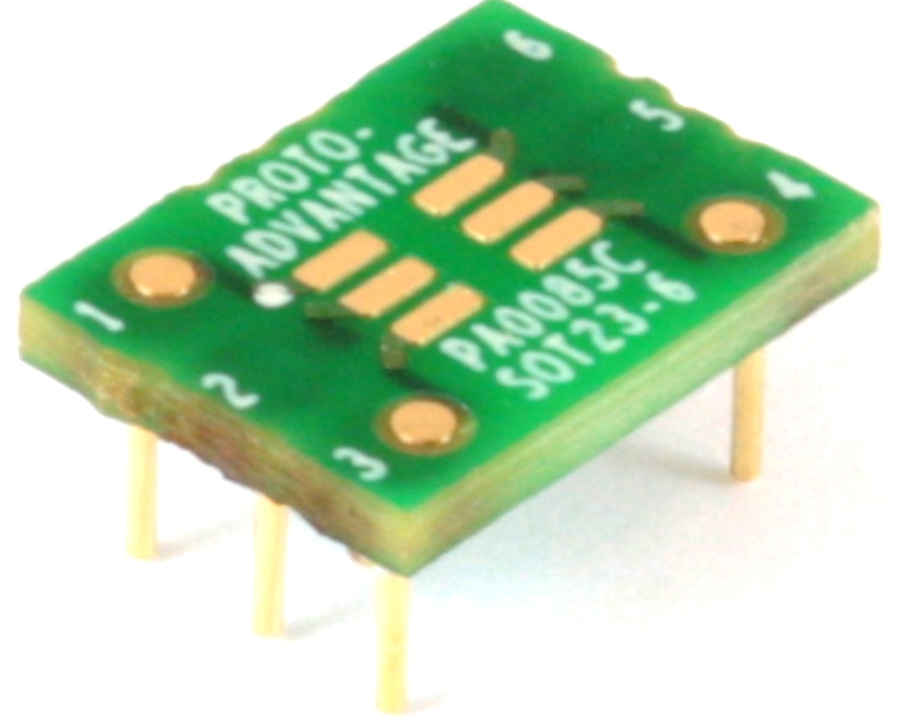 SOT23-6 to DIP-6 SMT Adapter (0.95 mm pitch) Compact Series 0