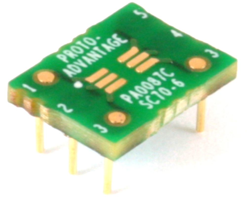 SC70-6 to DIP-6 SMT Adapter (0.65 mm pitch) Compact Series 0