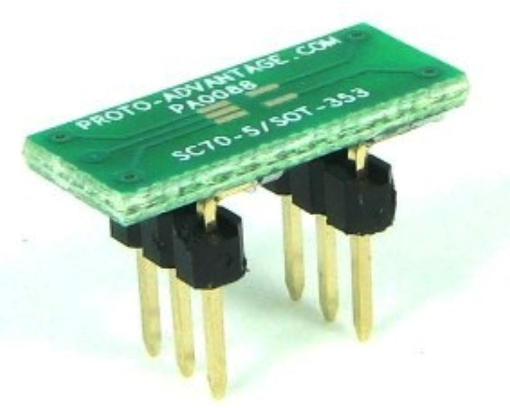 SC70-5 to DIP-6 SMT Adapter (0.65 mm pitch) 0