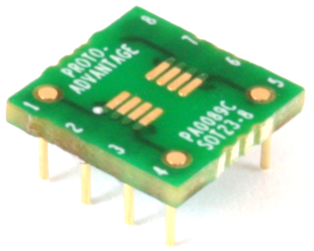 SOT23-8/TSOT-8 to DIP-8 SMT Adapter (0.65 mm pitch) Compact Series 0