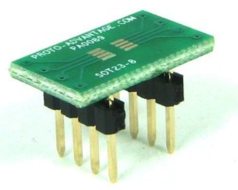 SOT23-8/TSOT-8 to DIP-8 SMT Adapter (0.65 mm pitch) 0