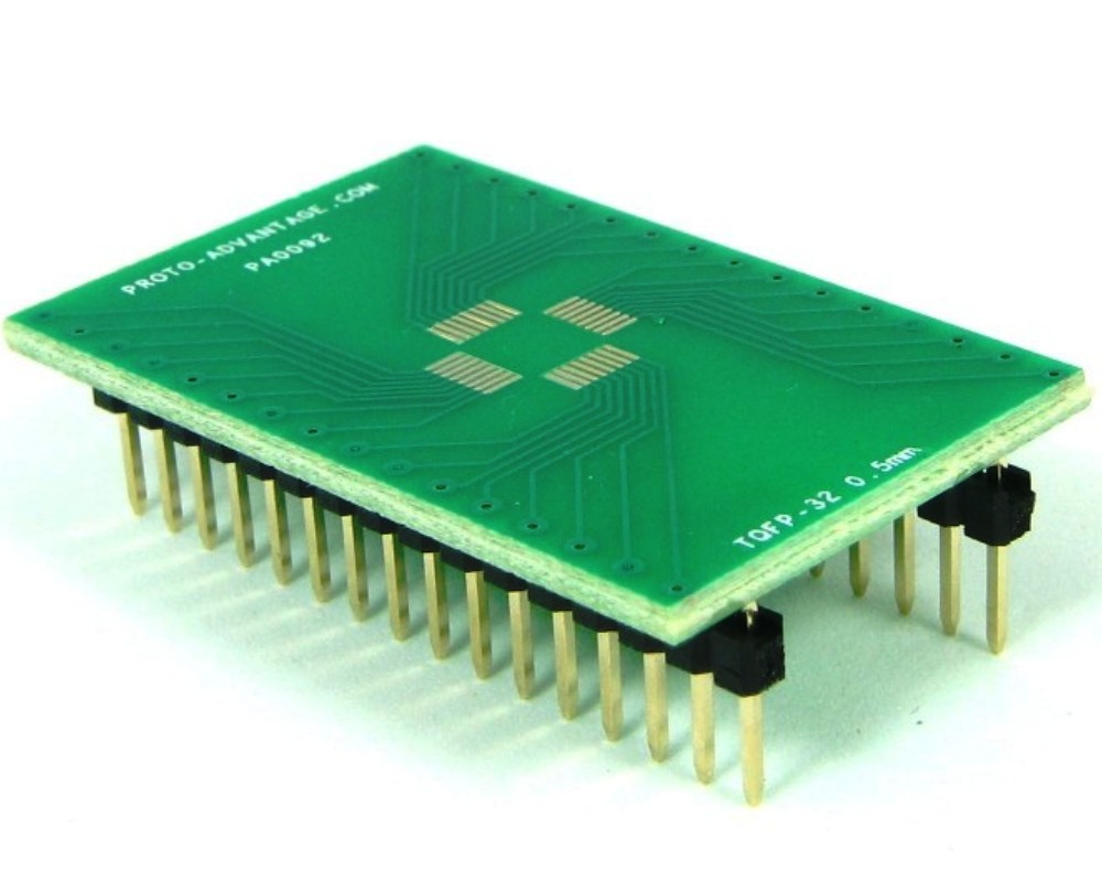 TQFP-32 to DIP-32 SMT Adapter (0.5 mm pitch, 5 x 5 mm body) 0