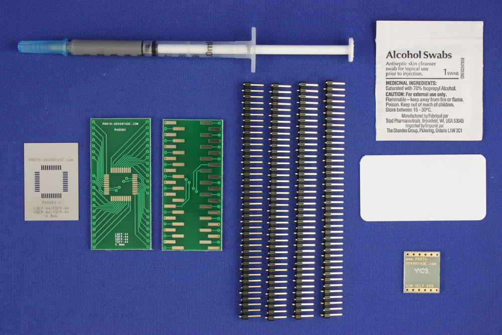 PQFP-44 (0.8 mm pitch, 10 x 10 mm body) PCB and Stencil Kit 0