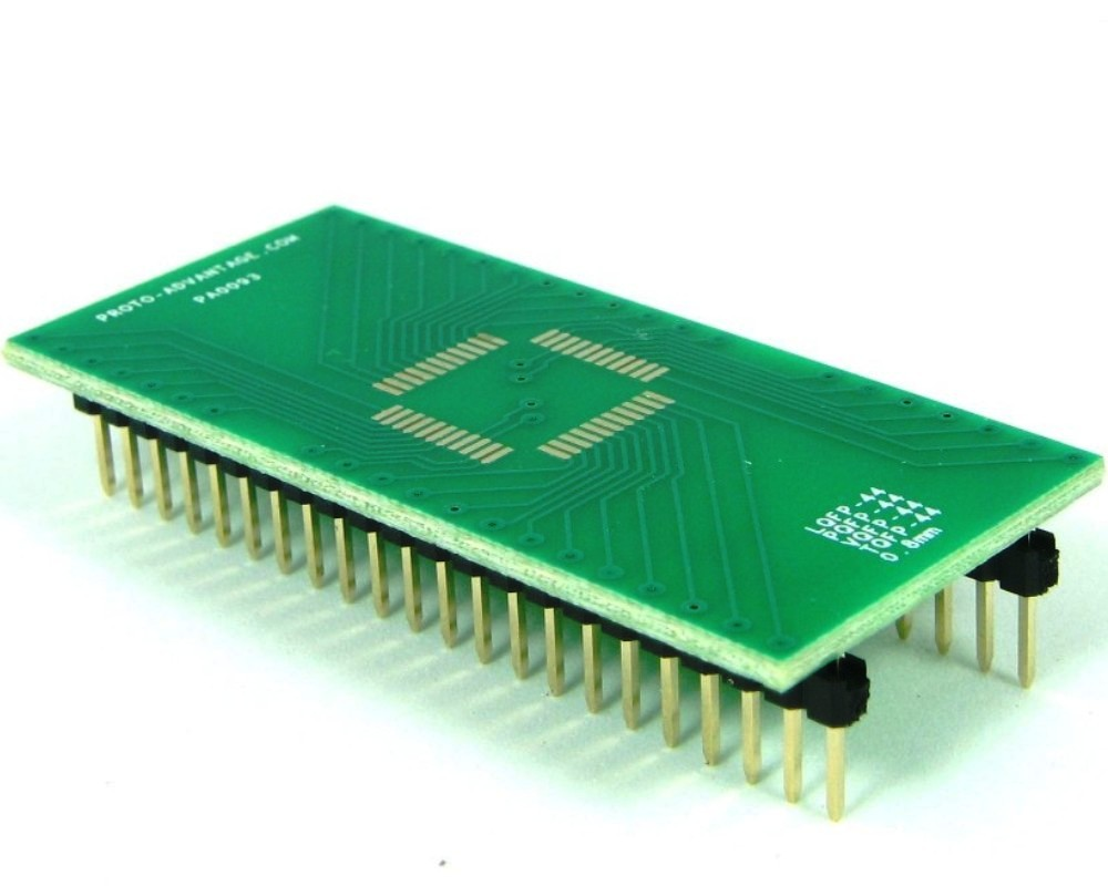 PQFP-44 to DIP-44 SMT Adapter (0.8 mm pitch, 10 x 10 mm body) 0