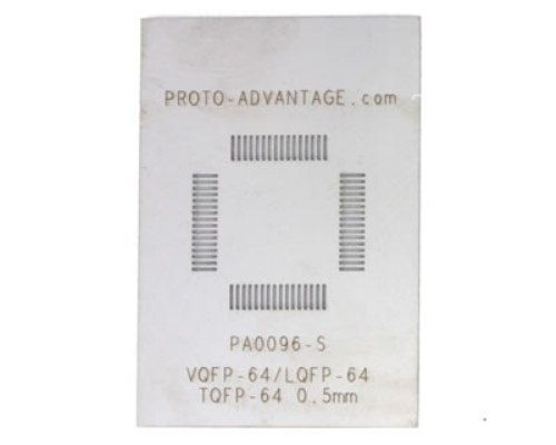 VQFP-64 (0.5 mm pitch, 10 x 10 mm body) Stainless Steel Stencil 0