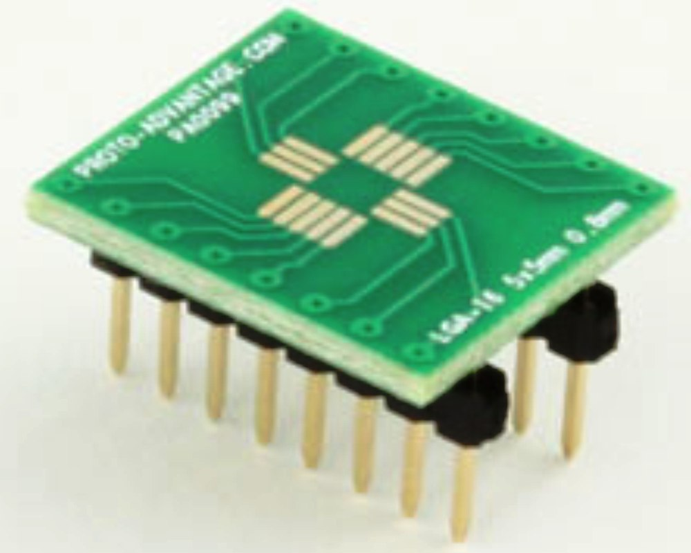 LGA-16 to DIP-16 SMT Adapter (0.8 mm pitch, 5 x 5 mm body) 0
