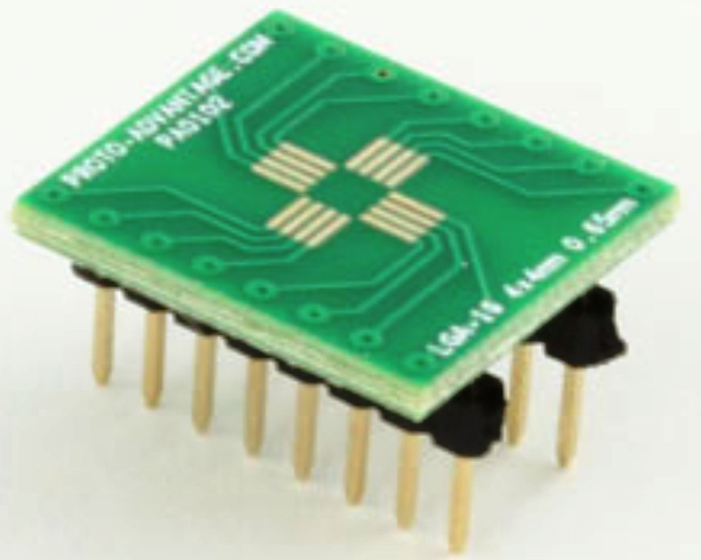 LGA-16 to DIP-16 SMT Adapter (0.65 mm pitch, 4 x 4 mm body) 0
