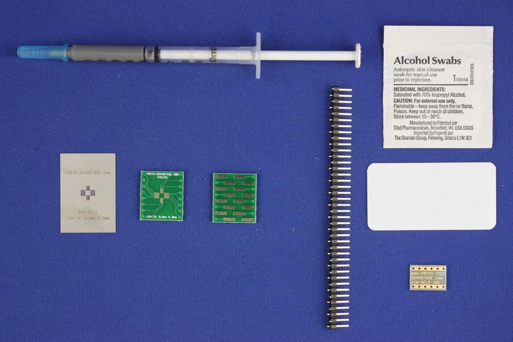LGA-16 (0.5 mm pitch, 3 x 3 mm body) PCB and Stencil Kit 0