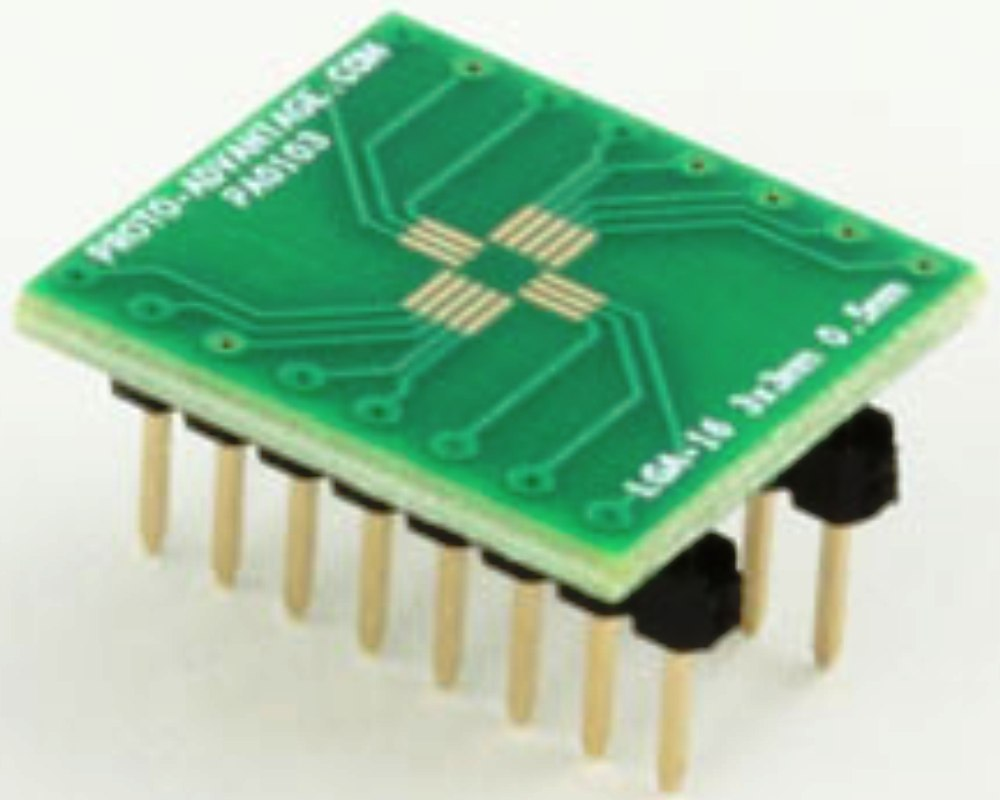 LGA-16 to DIP-16 SMT Adapter (0.5 mm pitch, 3 x 3 mm body) 0
