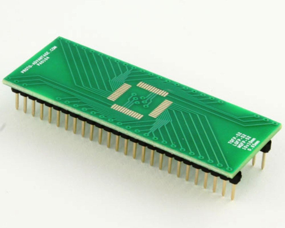 TQFP-52 to DIP-52 SMT Adapter (0.65 mm pitch, 10 x 10 mm body) 0