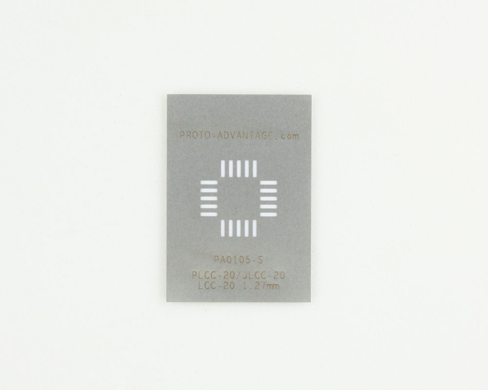 JLCC-20 (50 mils / 1.27 mm pitch) Stainless Steel Stencil 0