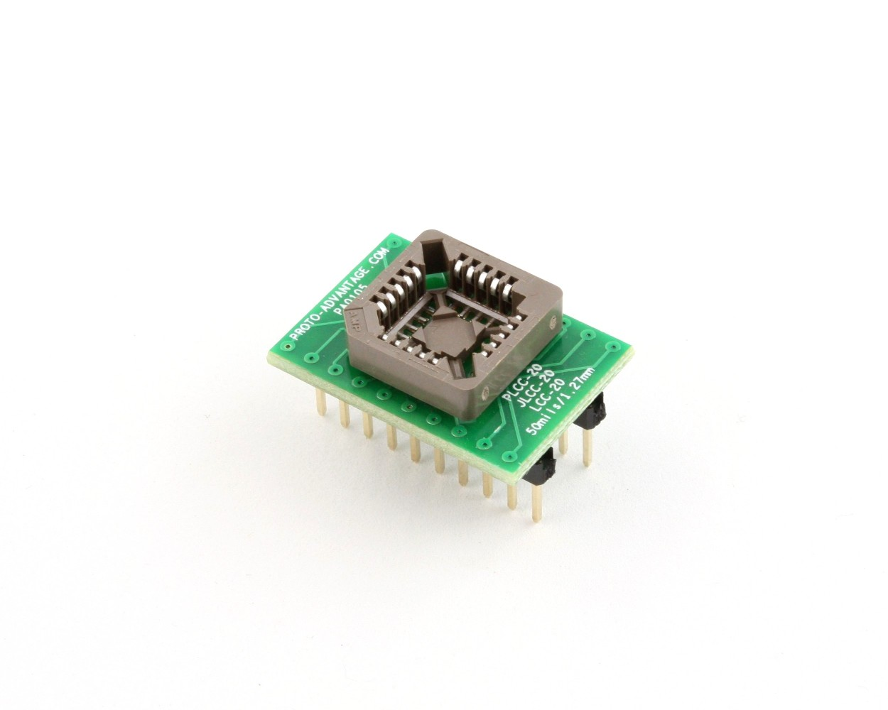 PLCC-20 Socket to DIP-20 Adapter (50 mils / 1.27 mm pitch) 0