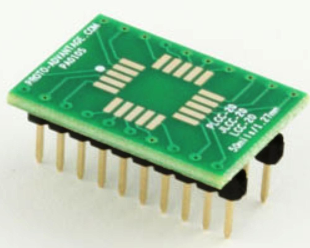 LCC-20 to DIP-20 SMT Adapter (50 mils / 1.27 mm pitch) 0