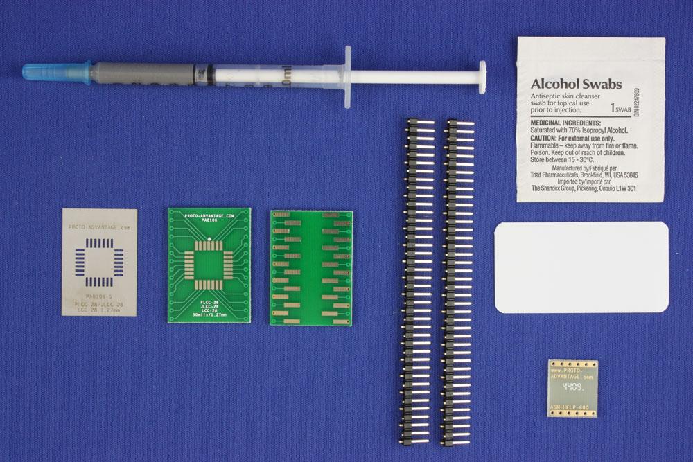 JLCC-28 (50 mils / 1.27 mm pitch) PCB and Stencil Kit 0