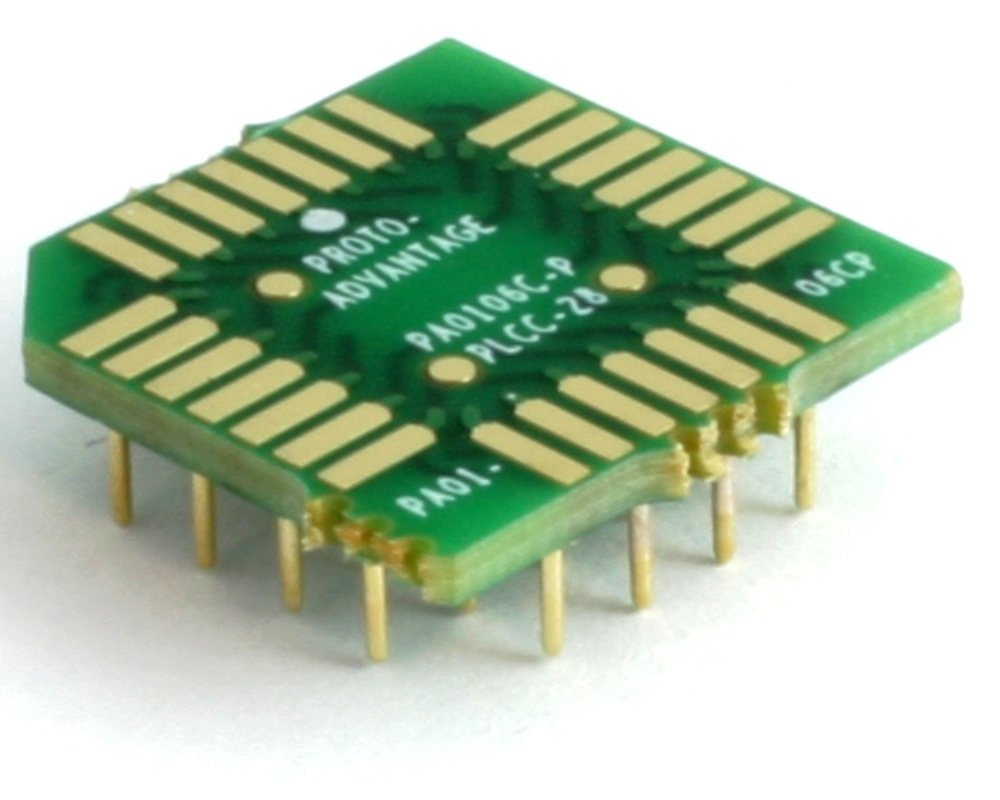 PLCC-28 to PGA-28 Pin 1 In SMT Adapter (50 mils / 1.27 mm pitch) Compact Series 0