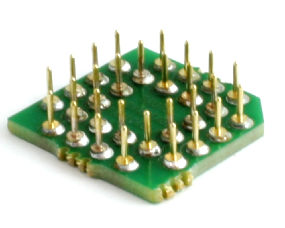 PLCC-28 to PGA-28 Pin 1 In SMT Adapter (50 mils / 1.27 mm pitch) Compact Series 1