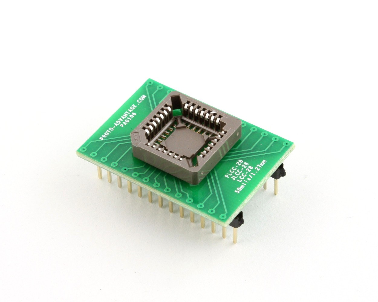 PLCC-28 Socket to DIP-28 Adapter (50 mils / 1.27 mm pitch) 0