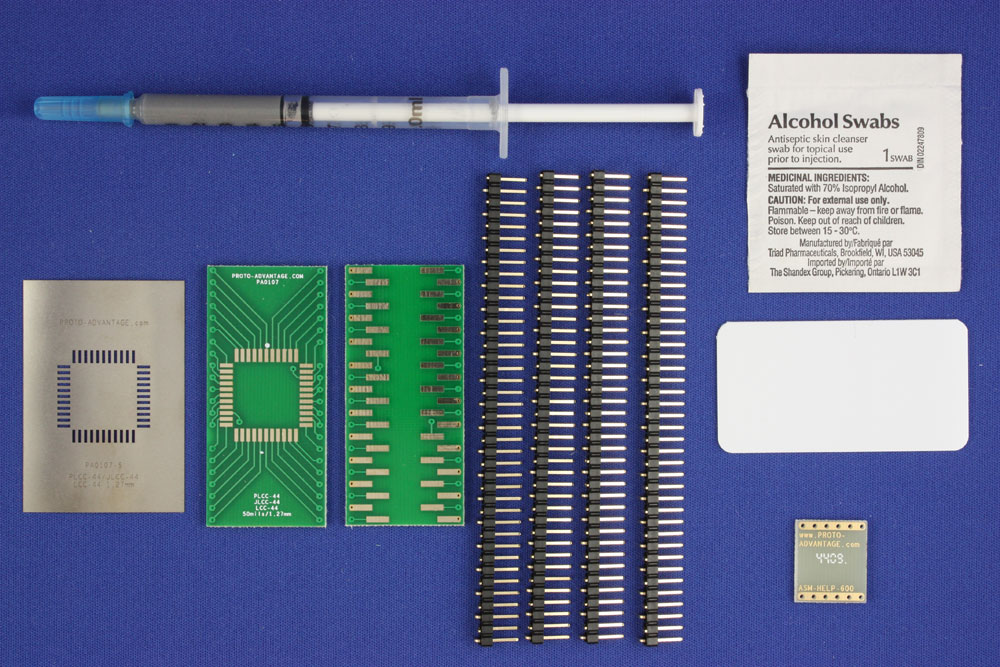 LCC-44 (50 mils / 1.27 mm pitch) PCB and Stencil Kit 0