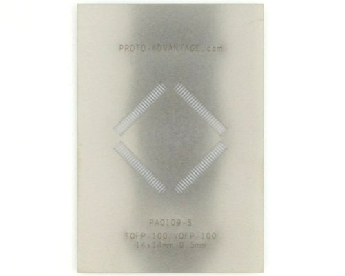 VQFP-100 (0.5 mm pitch, 14 x 14 mm body) Stainless Steel Stencil 0