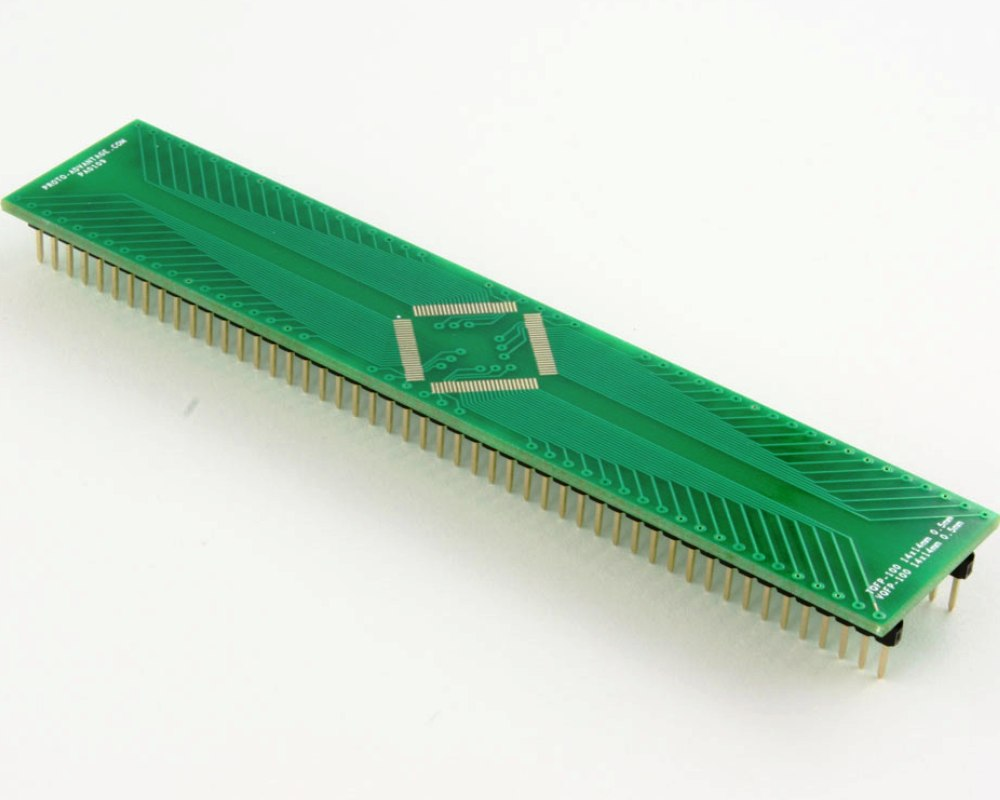 TQFP-100 to DIP-100 SMT Adapter (0.5 mm pitch, 14 x 14 mm body) 0
