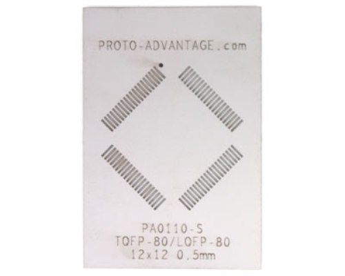 TQFP-80 (0.5 mm pitch, 12 x 12 mm body) Stainless Steel Stencil 0
