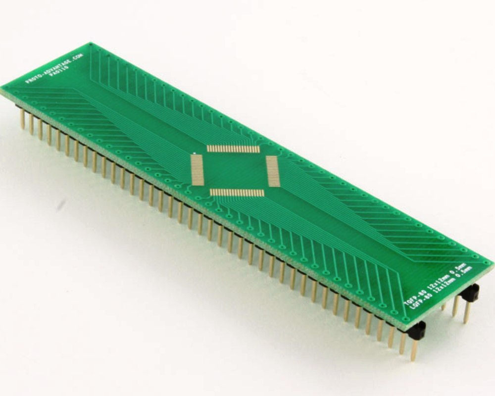 TQFP-80 to DIP-80 SMT Adapter (0.5 mm pitch, 12 x 12 mm body) 0