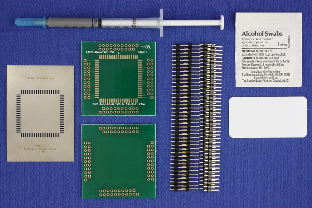 PLCC-84 (1.27 mm pitch, 30 x 30 mm body) PCB and Stencil Kit 0