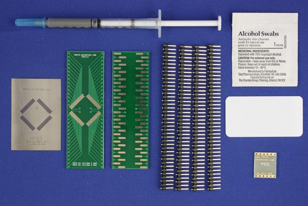 TQFP-64 (0.8 mm pitch, 14 x 14 mm body) PCB and Stencil Kit 0