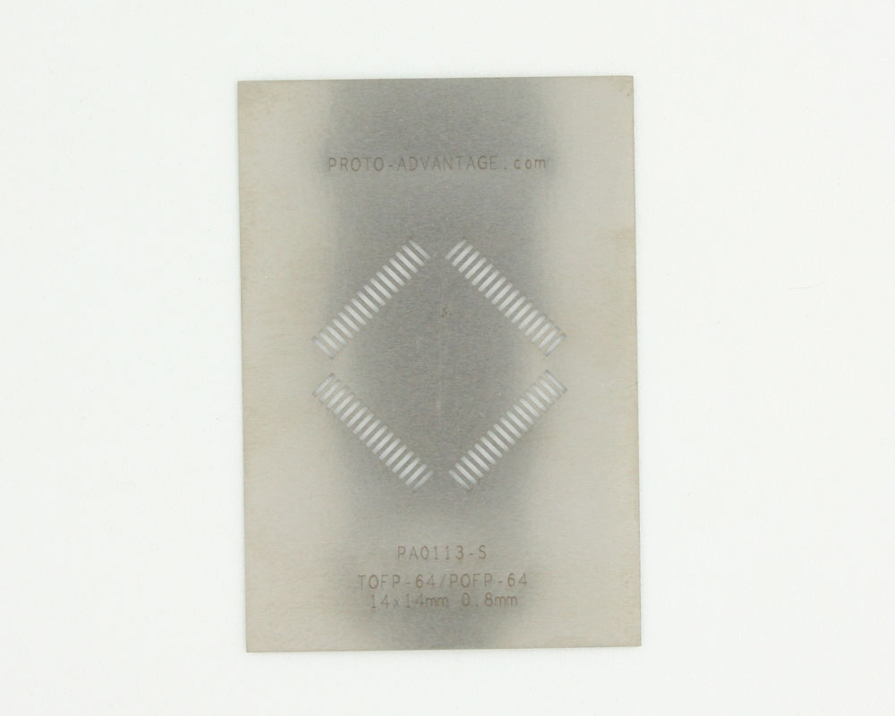 PQFP-64 (0.8 mm pitch, 14 x 14 mm body) Stainless Steel Stencil 0
