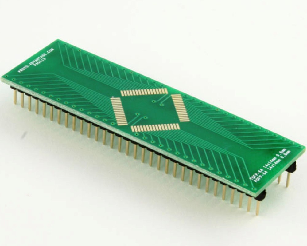TQFP-64 to DIP-64 SMT Adapter (0.8 mm pitch, 14 x 14 mm body) 0
