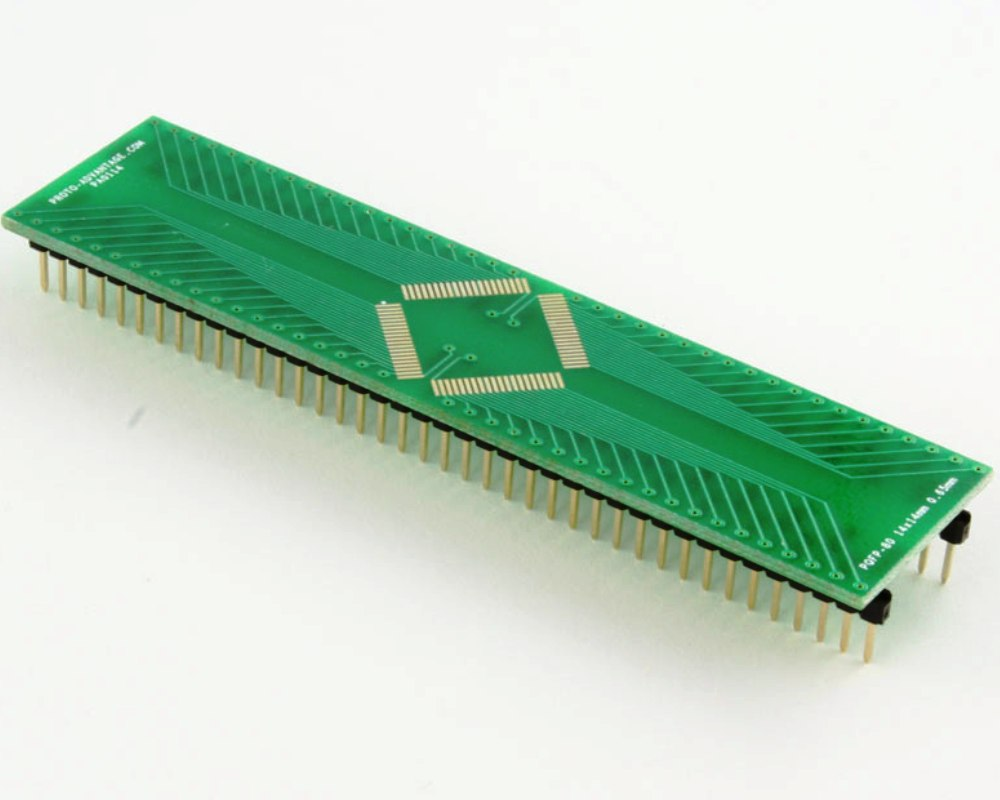 PQFP-80 to DIP-80 SMT Adapter (0.65 mm pitch, 14 x 14 mm body) 0
