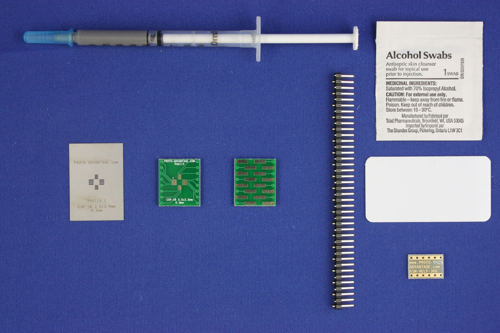 CSP-16 (0.5 mm pitch, 3.5 x 3.5 mm body) PCB and Stencil Kit 0