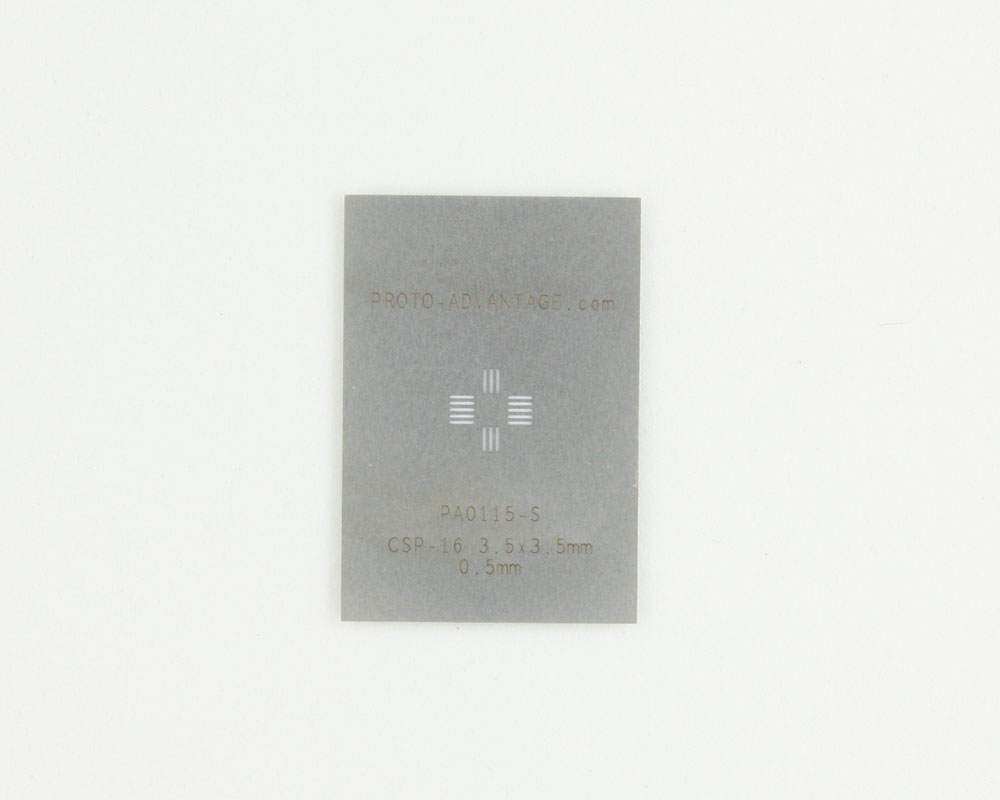 CSP-16 (0.5 mm pitch, 3.5 x 3.5 mm body) Stainless Steel Stencil 0