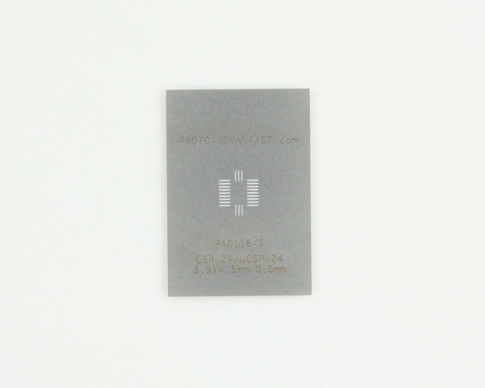 CSP-24 (0.5 mm pitch, 3.5 x 4.5 mm body) Stainless Steel Stencil 0