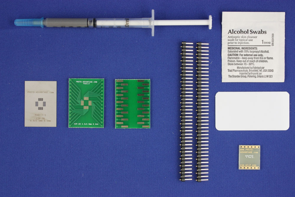 CSP-28 (0.5 mm pitch, 4.5 x 5.5 mm body) PCB and Stencil Kit 0