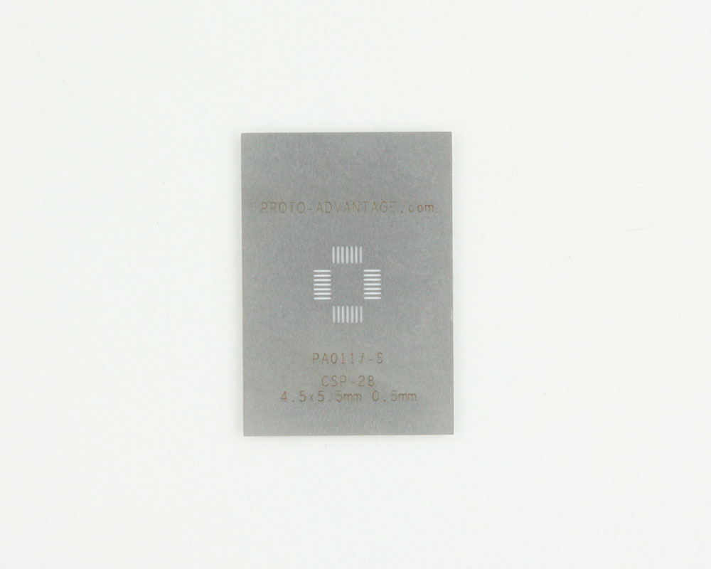 CSP-28 (0.5 mm pitch, 4.5 x 5.5 mm body) Stainless Steel Stencil 0