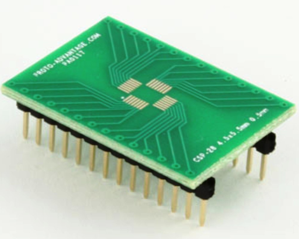 CSP-28 to DIP-28 SMT Adapter (0.5 mm pitch, 4.5 x 5.5 mm body) 0