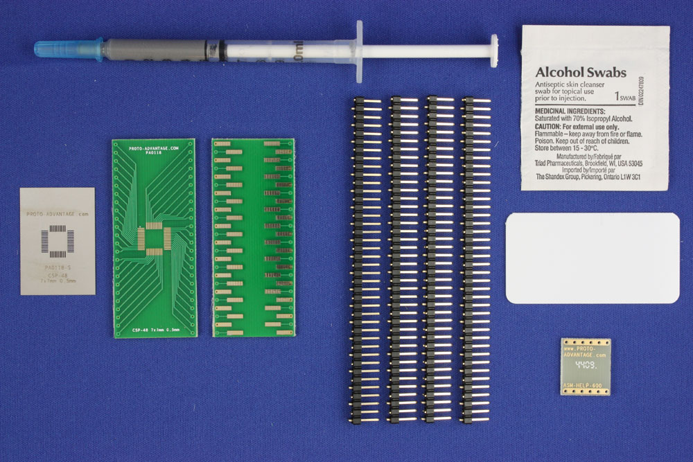 CSP-48 (0.5 mm pitch, 7 x 7 mm body) PCB and Stencil Kit 0