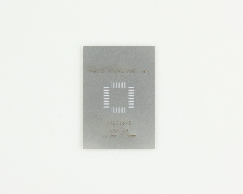 CSP-48 (0.5 mm pitch, 7 x 7 mm body) Stainless Steel Stencil 0