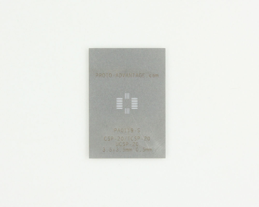 CSP-20 (0.5 mm pitch, 3.5 x 3.5 mm body) Stainless Steel Stencil 0