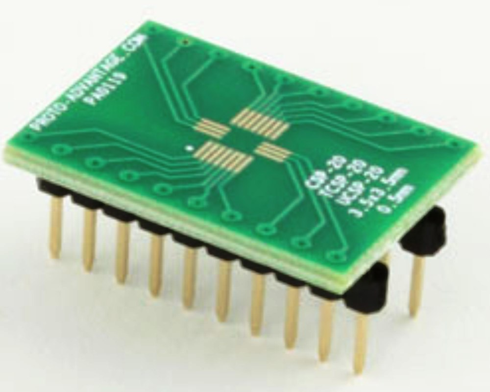 UCSP-20 to DIP-20 SMT Adapter (0.5 mm pitch, 3.5 x 3.5 mm body) 0