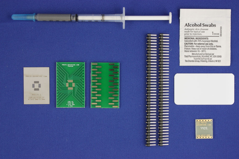 CSP-32 (0.5 mm pitch, 4.5 x 5.5 mm body) PCB and Stencil Kit 0