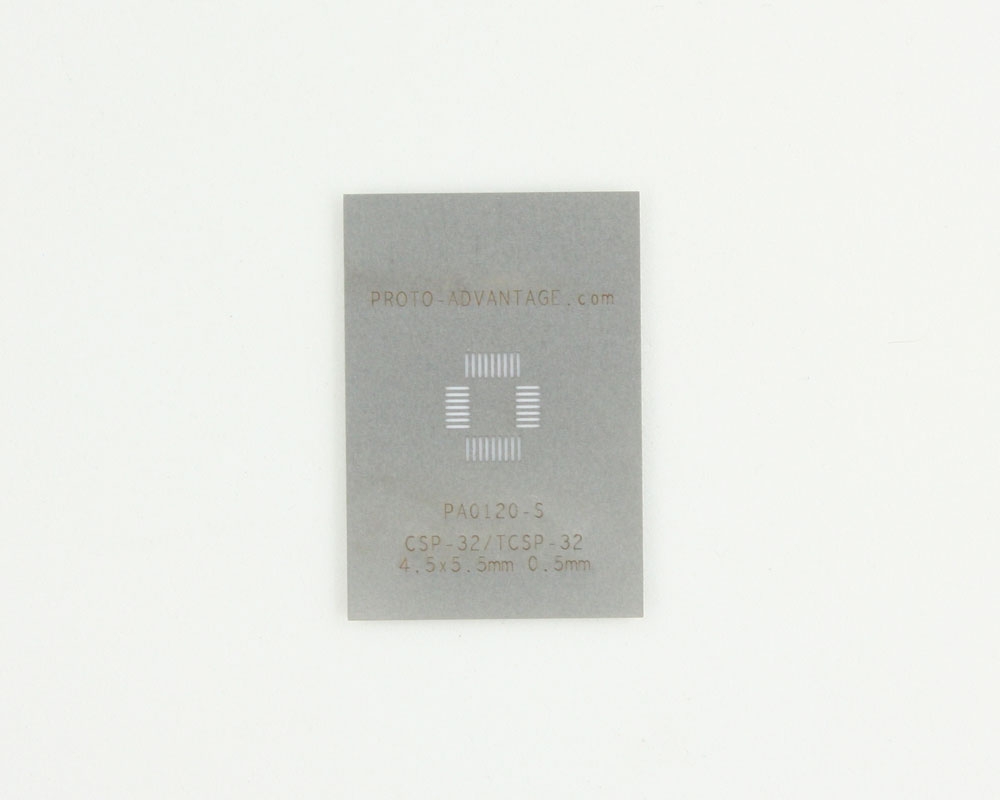 CSP-32 (0.5 mm pitch, 4.5 x 5.5 mm body) Stainless Steel Stencil 0