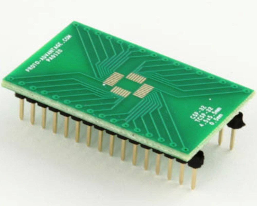 CSP-32 to DIP-32 SMT Adapter (0.5 mm pitch, 4.5 x 5.5 mm body) 0