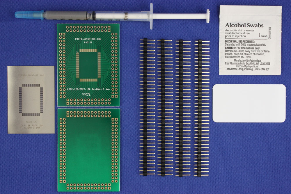 LQFP-128 (0.5 mm pitch, 14 x 20 mm body) PCB and Stencil Kit 0
